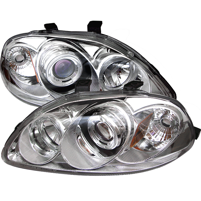 Honda Civic 1996-1998  Chrome  Halo Projector Headlights