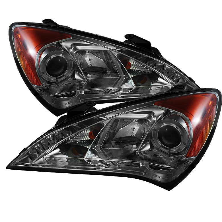 Hyundai Genesis ( Non Hid Type ) 2010-2012 Drl Halo LED Projector Headlights  - Smoke