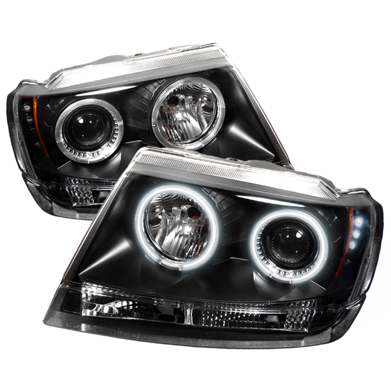Jeep Grand Cherokee  1999-2004 Ccfl LED Projector Headlights  - Black