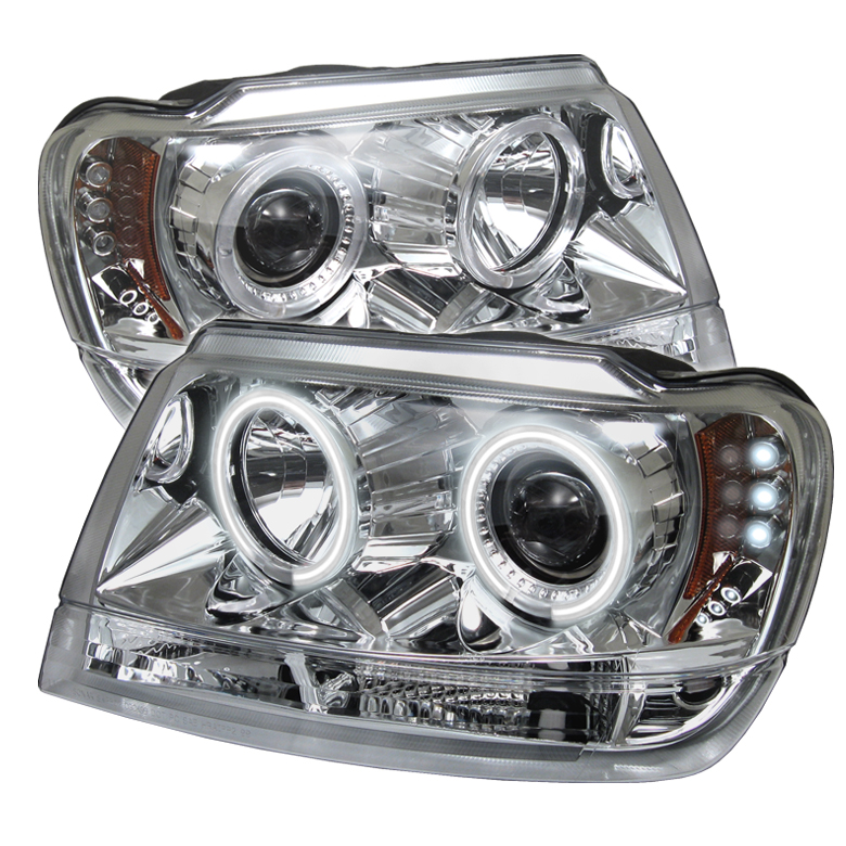 Jeep Grand Cherokee  1999-2004 Ccfl LED Projector Headlights  - Chrome