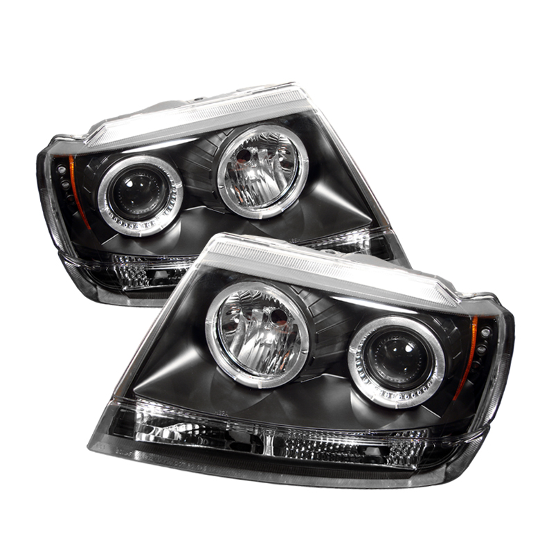 Jeep Grand Cherokee 1999-2004  Black Halo LED Projector Headlights