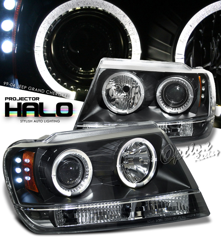Jeep Grand Cherokee  1999-2004 Halo LED Projector Headlights  - Black