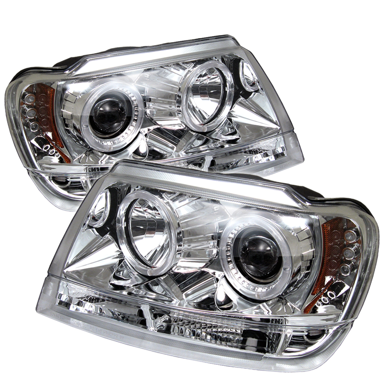 Jeep Grand Cherokee  1999-2004 Halo LED Projector Headlights  - Chrome