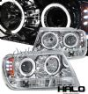 2000 Jeep Grand Cherokee   Halo LED Projector Headlights  - Chrome