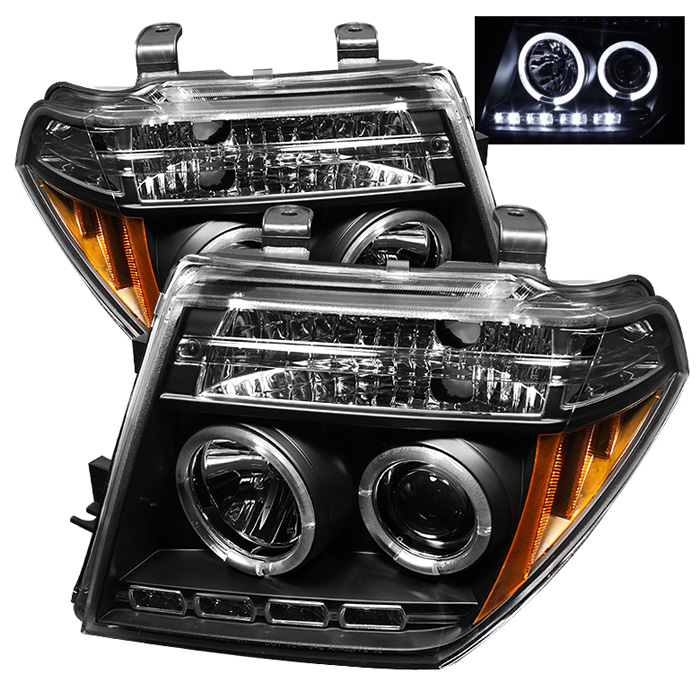 Nissan Frontier  2005-2008 Halo LED Projector Headlights  - Black