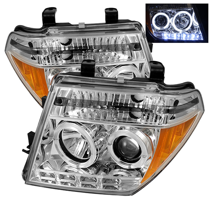 Nissan Frontier  2005-2008 Halo LED Projector Headlights  - Chrome
