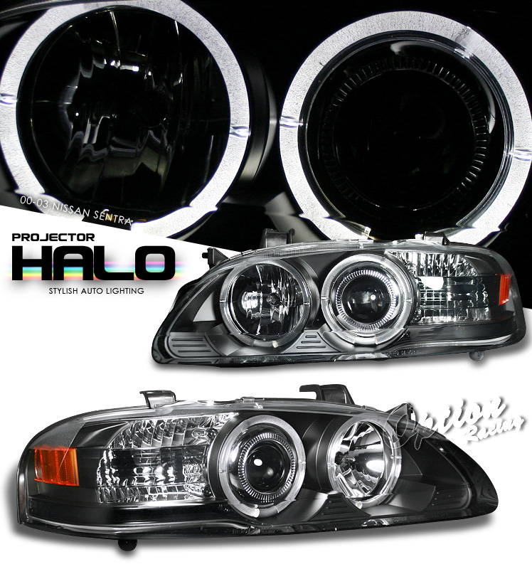 Nissan Sentra 2000-2003  Black W/ Halo Projector Headlights