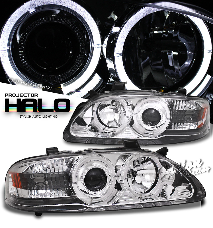 Nissan Sentra 2000-2003  Chrome W/ Halo Projector Headlights