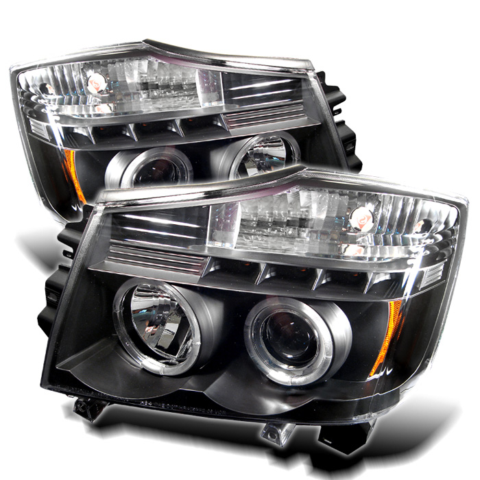 Nissan Armada  2004-2007 Halo LED Projector Headlights  - Black