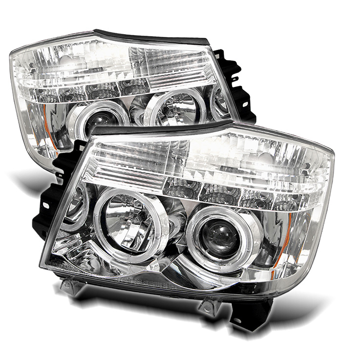 Nissan Armada  2004-2007 Halo LED Projector Headlights  - Chrome