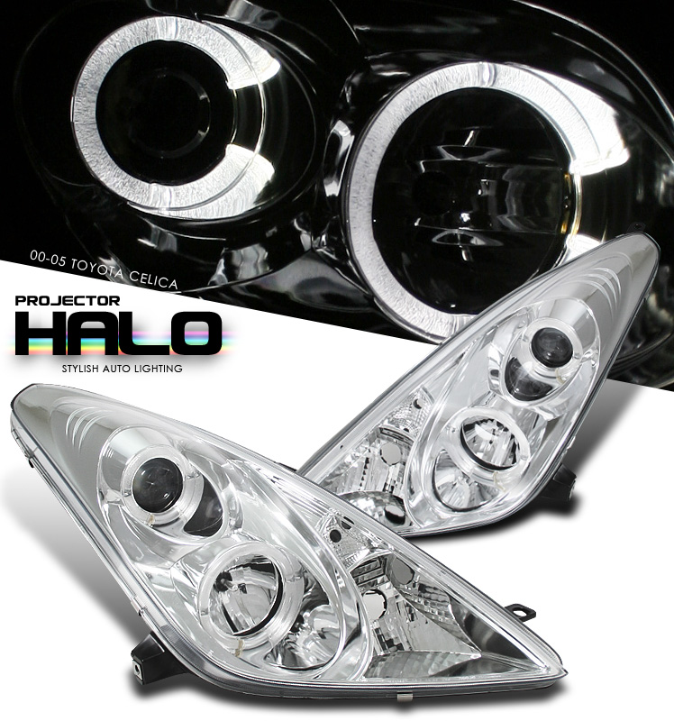 Toyota Celica 2000-2005  Chrome W/ Halo Projector Headlights
