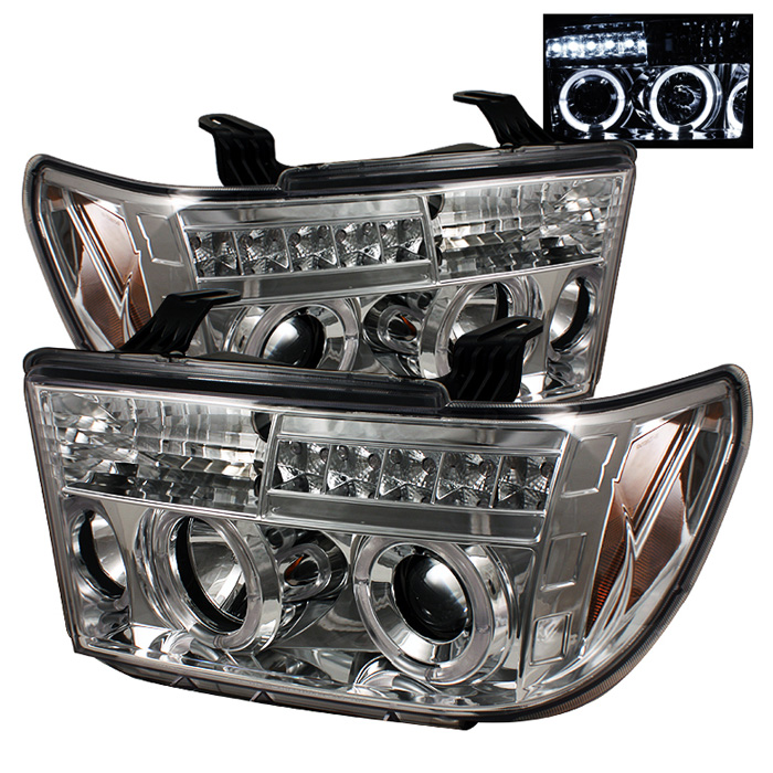 Toyota Tundra  2007-2011 Halo LED Projector Headlights  - Chrome