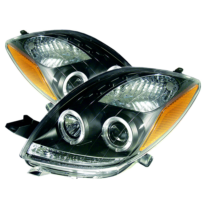 Toyota Yaris 2006-2008 2DR Black  Halo Projector Headlights