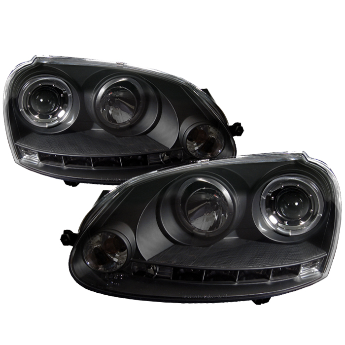 Volkswagen  Gti 2006-2009  Black  ( Halogen Bulb Type ) Halo LED Projector Headlights