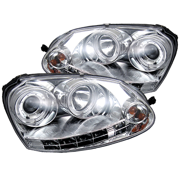 Volkswagen  Gti 2006-2009  Chrome  ( Halogen Bulb Type ) Halo LED Projector Headlights