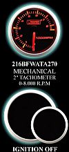 Mechanical Analog (In Dash) 2 Inch 0-8500RPM Amber/White Tachometer