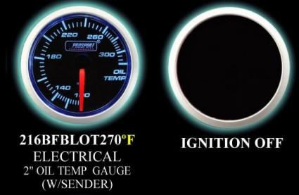 Electrical 100-320 Degree 2 Inch Blue/White Oil Temperature Gauge