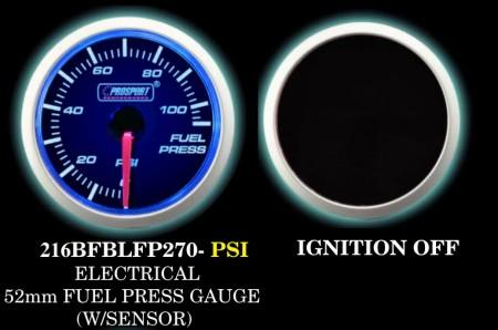 Electrical 0-110 PSI 2 Inch Blue/White Fuel Pressure Gauge