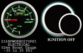 Electrical -30 to +30 2 Inch Green/White Boost Gauge