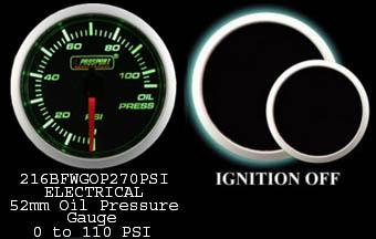 Electrical 0-110 PSI 2 Inch Green/White Oil Pressure Gauge