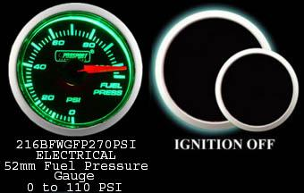 Electrical 0-110 PSI 2 Inch Green/White Fuel Pressure Gauge