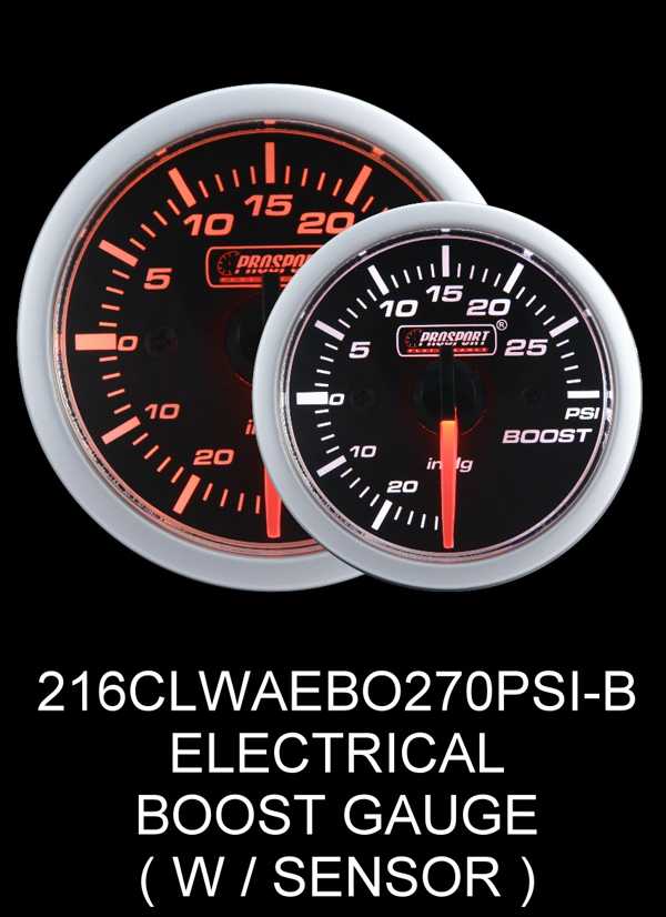 Electrical -30 to +30 2 Inch Clear Lens Amber/White Boost Gauge