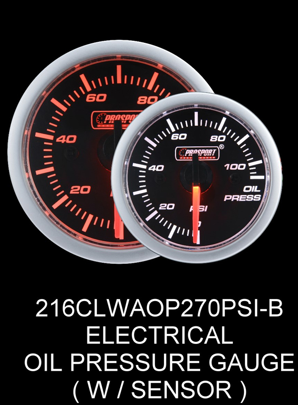 Electrical 0-110 PSI 2 Inch Clear Lens Amber/White Oil Pressure Gauge