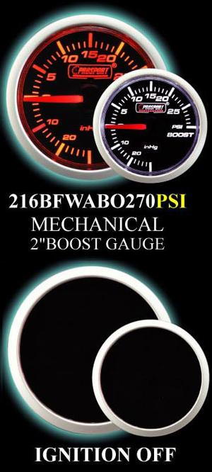 Mechanical -30 to +30 2 Inch Amber/White Boost Gauge