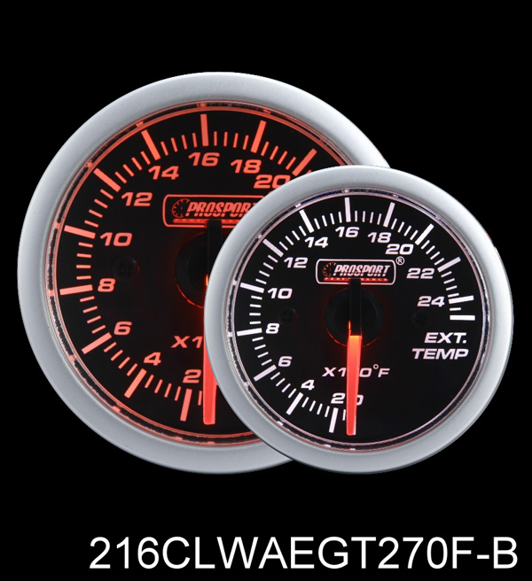 0-2500 Degree 2 Inch Clear Lens Amber/White Exhaust Gas Temperature Gauge