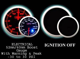 Electrical -30 to +30 2 Inch Amber/White Boost Gauge with Warning and Peak Hold