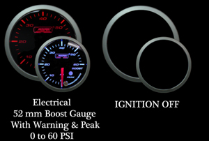 Electrical 0-60 PSI 2 Inch Amber/White Boost Gauge with Warning and Peak Hold