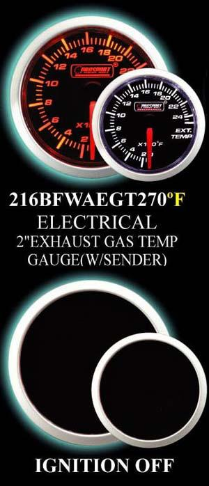 0-2500 Degree 2 Inch Amber/White Exhaust Gas Temperature Gauge
