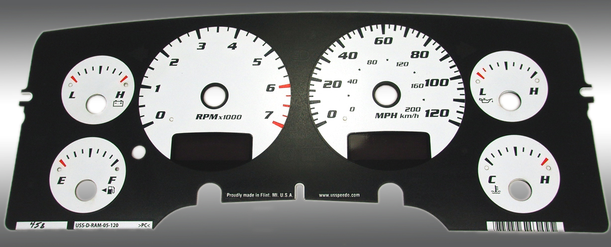 Dodge Ram 2002-2005 Gas W/Needle Stops White Performance Dash Gauges