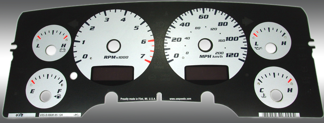 Dodge Ram 2002-2005 Gas W/Needle Stops Silver Performance Dash Gauges