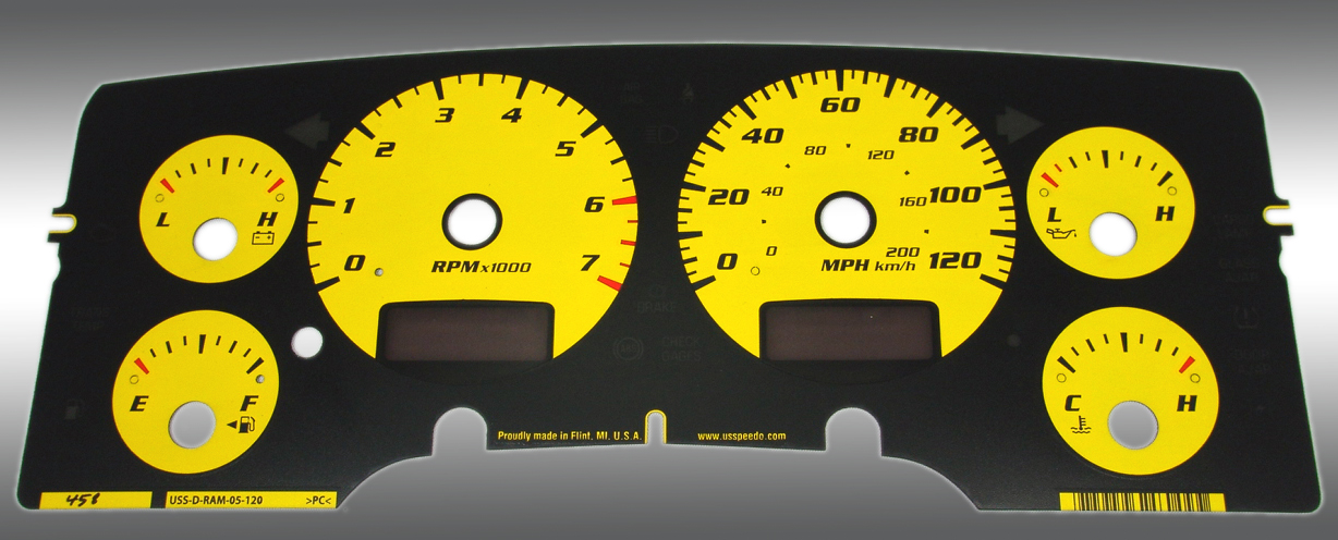 Dodge Ram 2002-2005 Gas W/Needle Stops Yellow Performance Dash Gauges