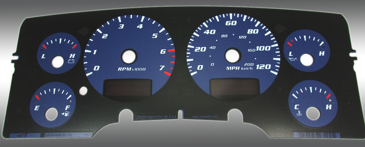 Dodge Ram 2002-2005 Gas W/Needle Stops Blue Performance Dash Gauges