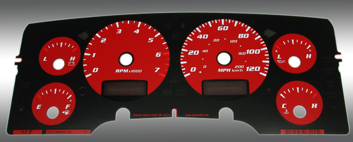 Dodge Ram 2002-2005 Gas W/Needle Stops Red Performance Dash Gauges