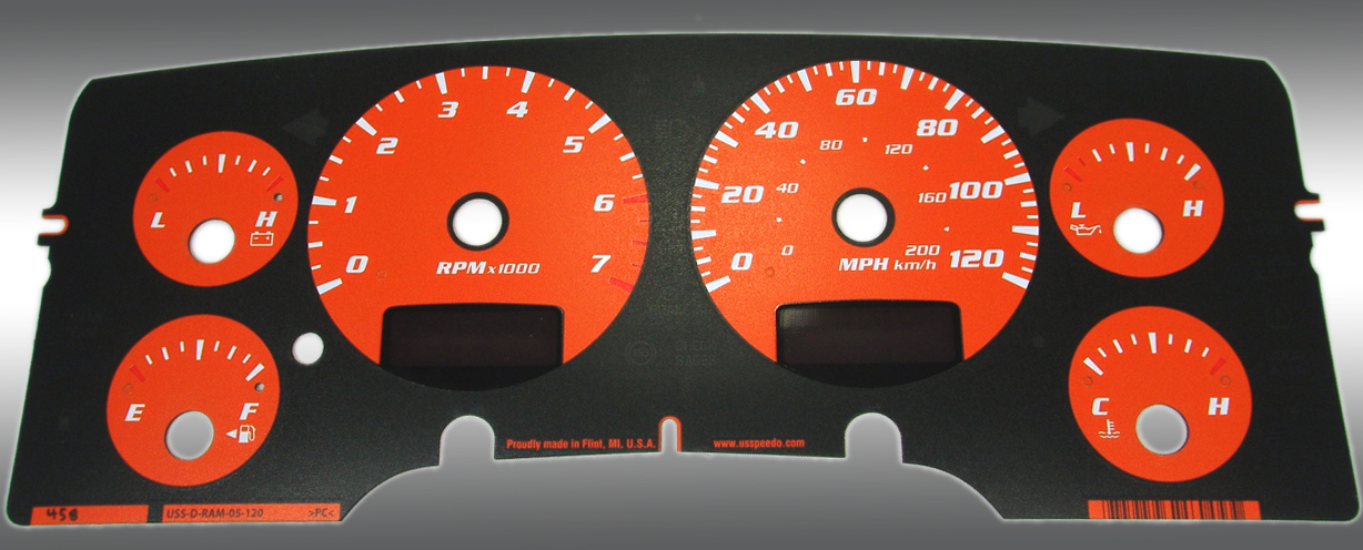 Dodge Ram 2002-2005 Gas W/Needle Stops Orange Performance Dash Gauges