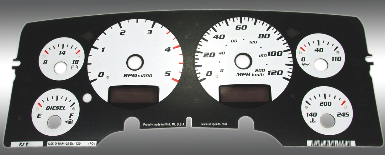Dodge Ram 2003-2005 Diesel  W/Needle Stops White Performance Dash Gauges
