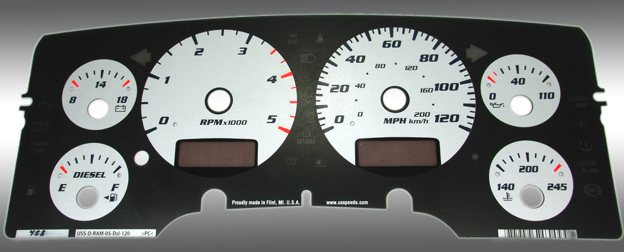 Dodge Ram 2003-2005 Diesel  W/Needle Stops Silver Performance Dash Gauges