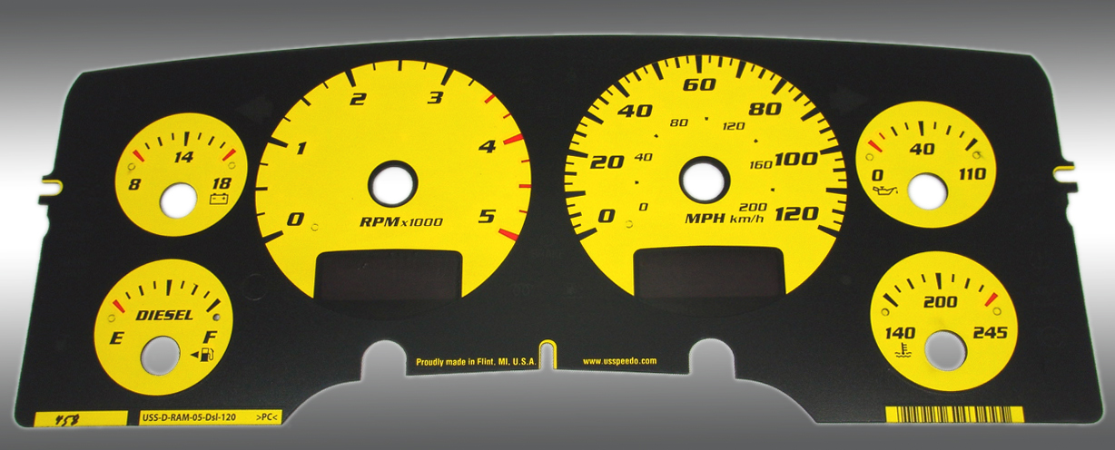Dodge Ram 2003-2005 Diesel  W/Needle Stops Yellow Performance Dash Gauges