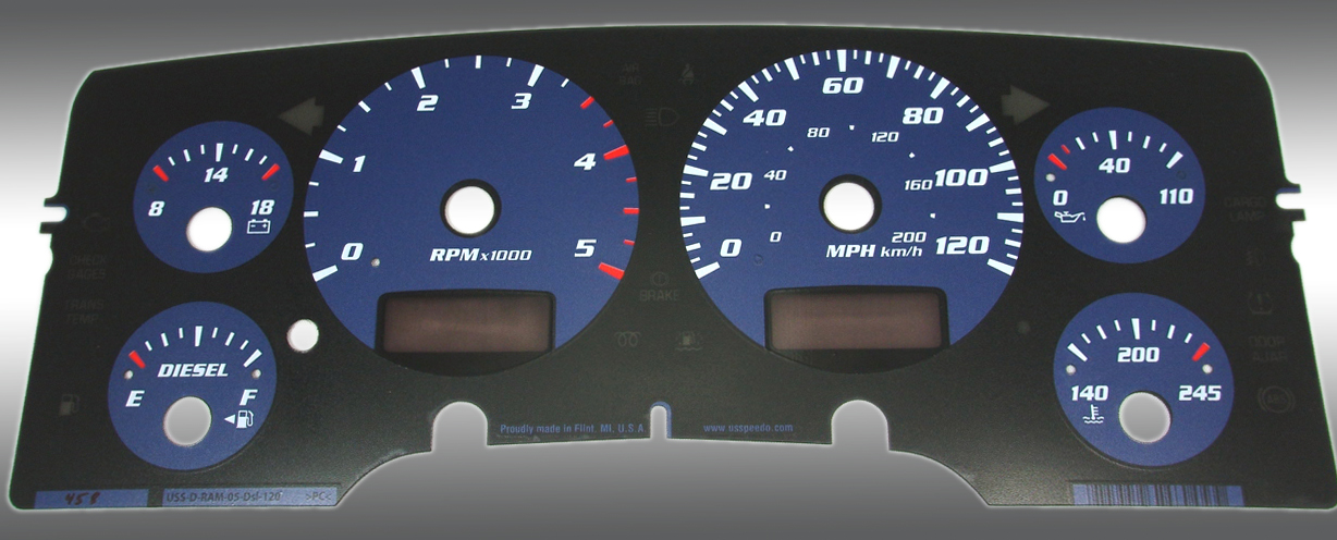 Dodge Ram 2003-2005 Diesel  W/Needle Stops Blue Performance Dash Gauges
