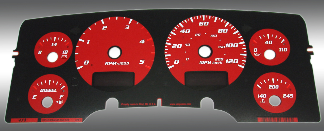 Dodge Ram 2003-2005 Diesel  W/Needle Stops Red Performance Dash Gauges