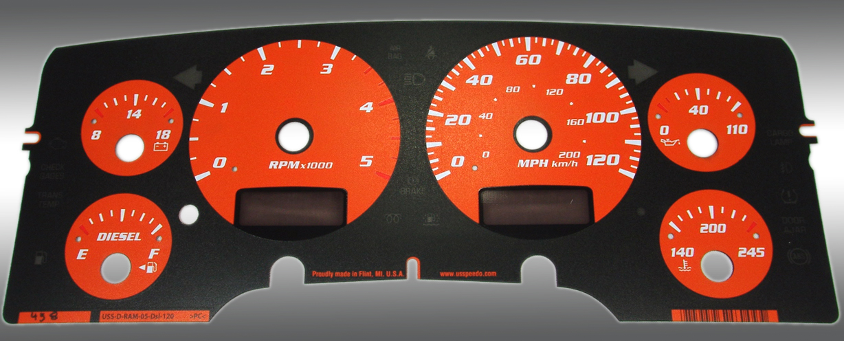Dodge Ram 2003-2005 Diesel  W/Needle Stops Orange Performance Dash Gauges