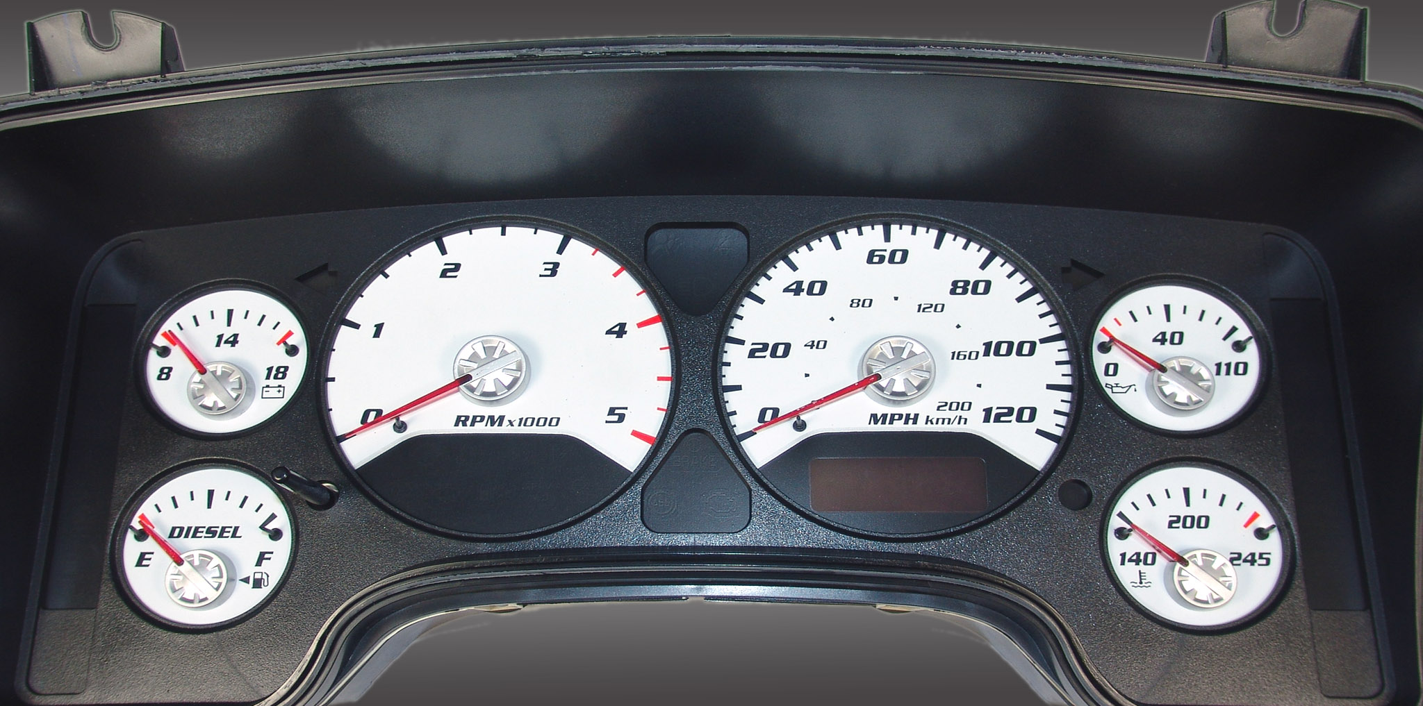 Dodge Ram 2006-2006 Diesel  W/Needle Stops White Performance Dash Gauges