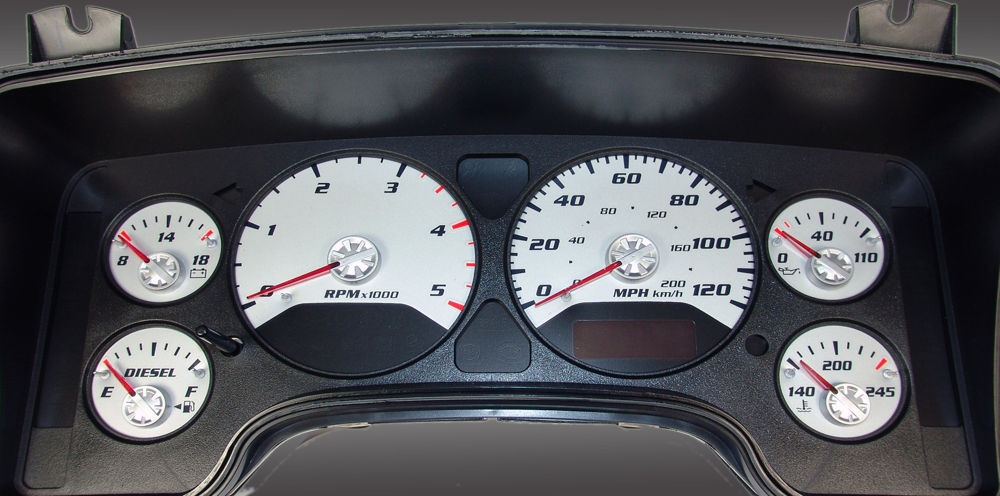 Dodge Ram 2006-2006 Diesel  W/Needle Stops Silver Performance Dash Gauges