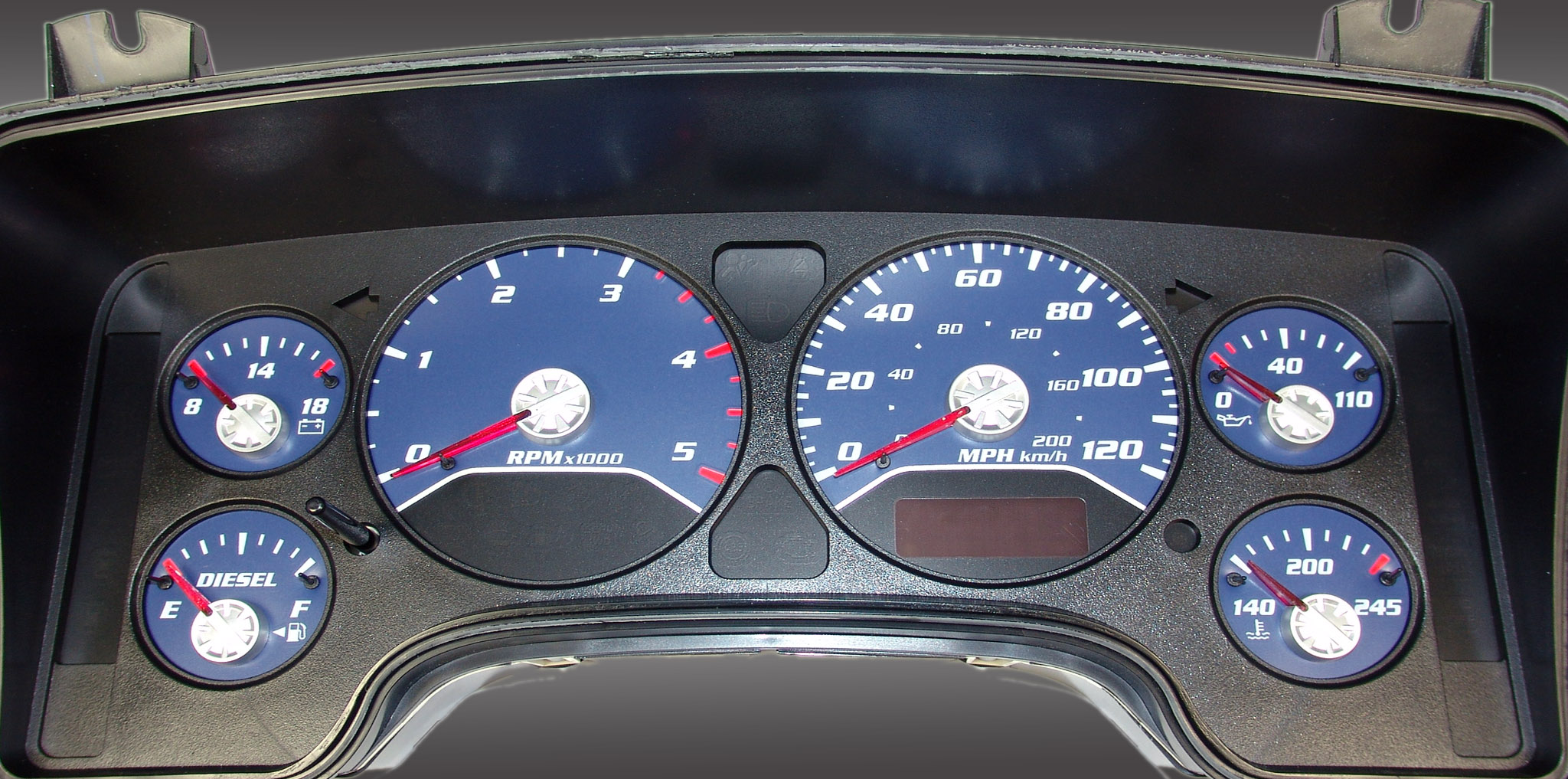 Dodge Ram 2006-2006 Diesel  W/Needle Stops Blue Performance Dash Gauges