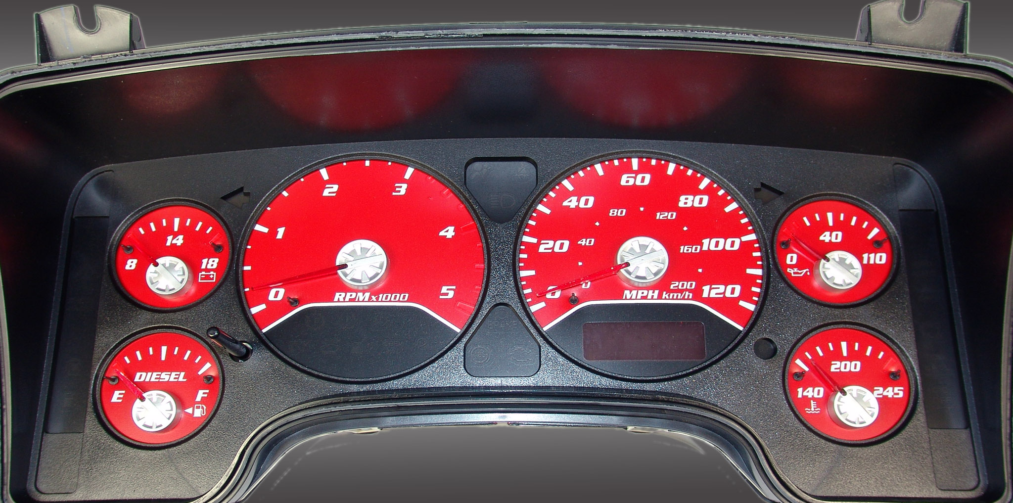 Dodge Ram 2006-2006 Diesel  W/Needle Stops Red Performance Dash Gauges