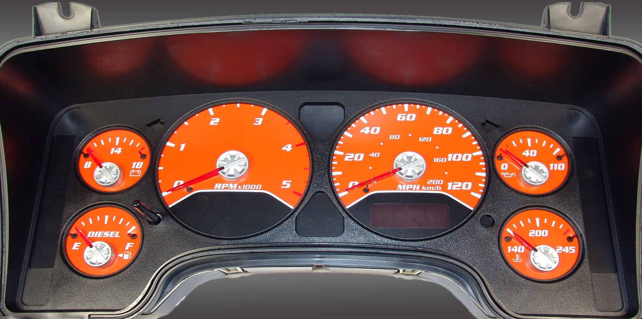 Dodge Ram 2006-2006 Diesel  W/Needle Stops Orange Performance Dash Gauges