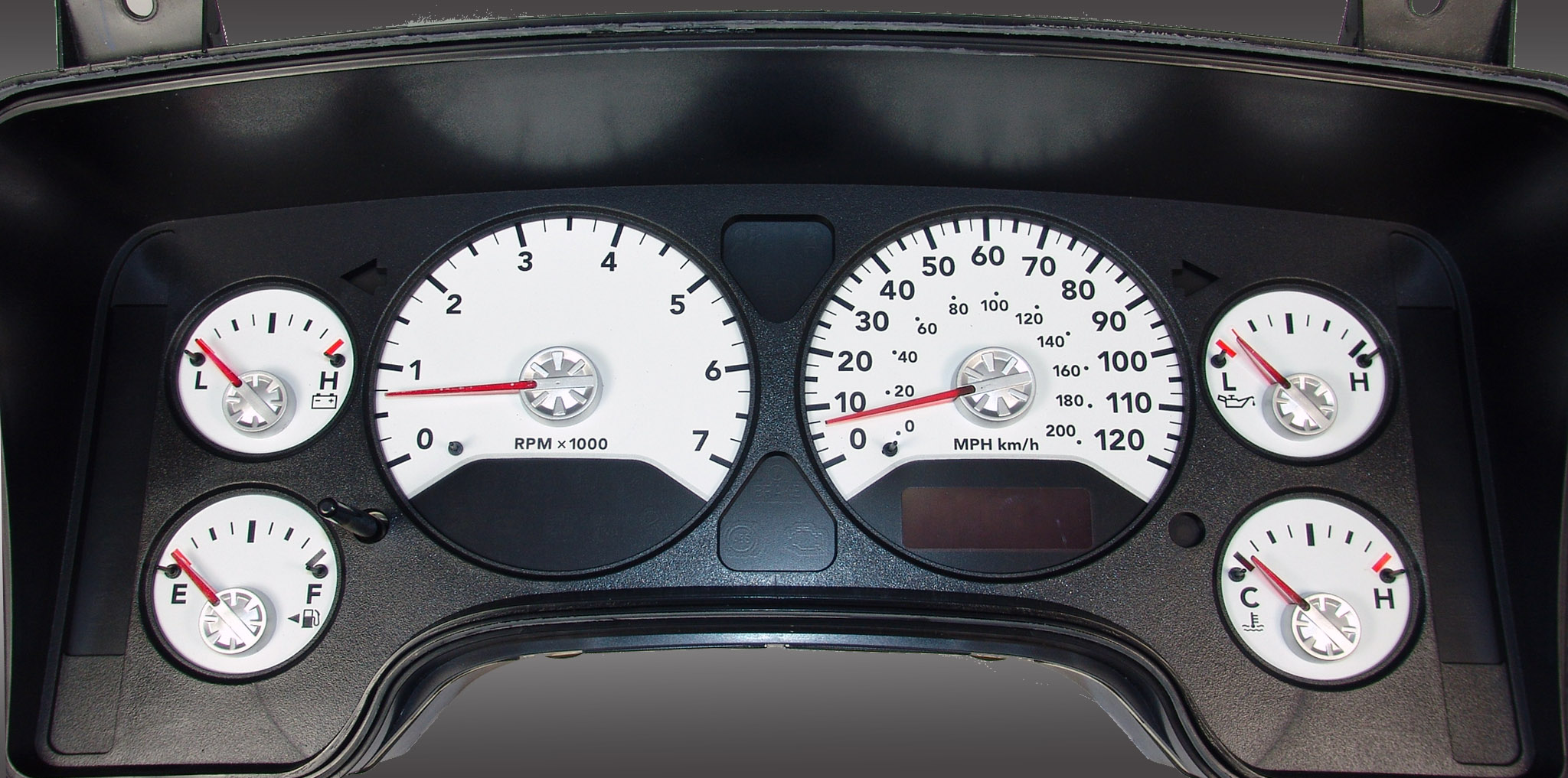 Dodge Ram 2006-2006 Gas W/Needle Stops White Performance Dash Gauges